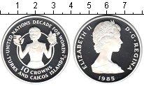 Изображение Монеты Теркc и Кайкос 10 крон 1985 Серебро Proof- Декада женщин.
