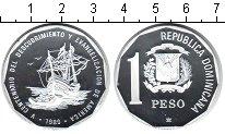 Изображение Монеты Доминиканская республика 1 песо 1989 Серебро Proof- 500-летие открытия А
