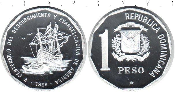 Картинка Монеты Доминиканская республика 1 песо Серебро 1989