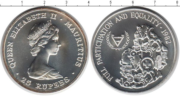 Картинка Монеты Маврикий 25 рупий Серебро 1982