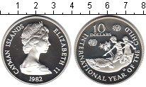 Изображение Монеты Каймановы острова 10 долларов 1982 Серебро Proof- Международный год ре