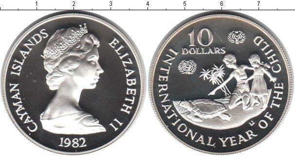Картинка Монеты Каймановы острова 10 долларов Серебро 1982