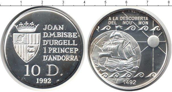 Картинка Монеты Андорра 10 динерс Серебро 1992