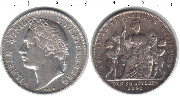 Картинка Монеты Вюртемберг 1 талер Серебро 1841
