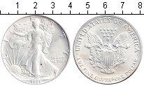 Изображение Монеты США 1 доллар 1991 Серебро UNC- Шагающая свобода.