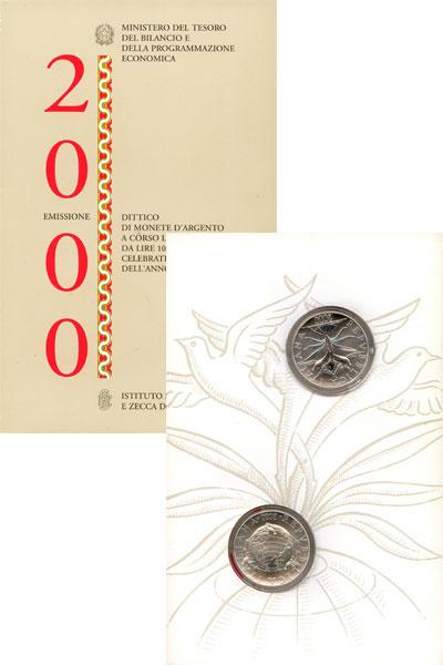 Изображение Подарочные наборы Италия Выпуск монет 2000 г, 2000 Серебро UNC Выпуск монет 2000 г.