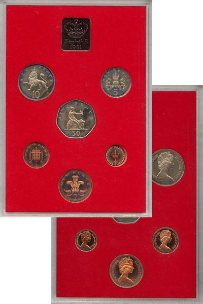 Изображение Подарочные наборы Великобритания Выпуск 1981 года 1981  AUNC Выпуск монет 1981 го