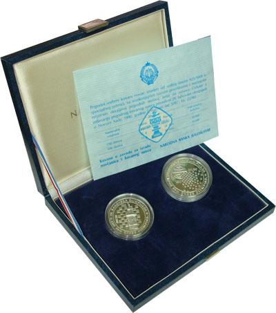 Изображение Подарочные монеты Югославия Чемпионат по шахматам 1990 Серебро Proof Подарочный набор пос