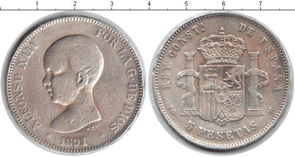 Картинка Монеты Испания 5 песет Серебро 1891