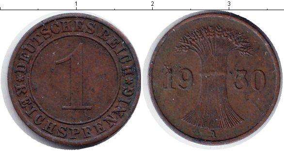 Картинка Монеты Веймарская республика 1 пфенниг Медь 1930