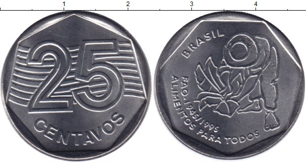 Картинка Мелочь Бразилия 25 сентаво Медно-никель 1995