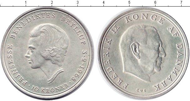 Картинка Монеты Дания 10 крон Серебро 1968