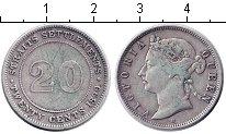 Изображение Монеты Стрейтс-Сеттльмент 20 центов 1890 Серебро VF Виктория.