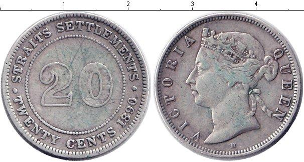 Картинка Монеты Стрейтс-Сеттльмент 20 центов Серебро 1890