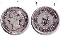 Изображение Монеты Стрейтс-Сеттльмент 5 центов 1889 Серебро VF Виктория.