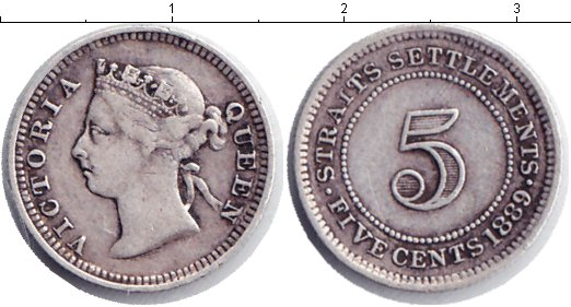 Картинка Монеты Стрейтс-Сеттльмент 5 центов Серебро 1889