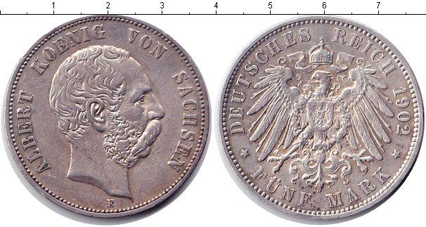 Картинка Монеты Саксония 5 марок Серебро 1902