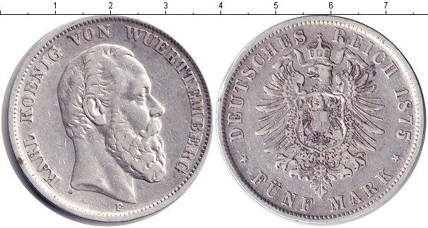Картинка Монеты Вюртемберг 5 марок Серебро 1875