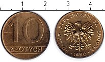 Изображение Мелочь Польша 10 злотых 1990 Медь XF