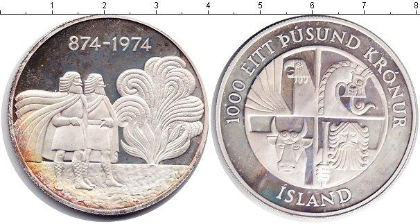 Картинка Монеты Исландия 1.000 крон Серебро 1974