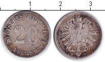 Изображение Монеты Германия 20 пфеннигов 1876 Серебро VF G