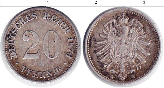 Картинка Монеты Германия 20 пфеннигов Серебро 1876