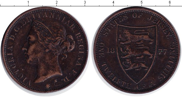 Картинка Монеты Остров Джерси 1/12 шиллинга Медь 1877
