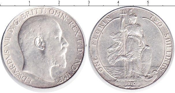 Картинка Монеты Великобритания 1 флорин Серебро 1910