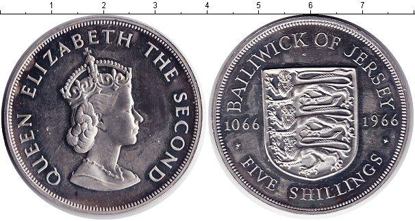 Картинка Монеты Остров Джерси 5 шиллингов Медно-никель 1966