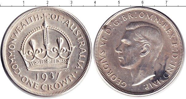 Картинка Монеты Австралия 1 крона Серебро 1937