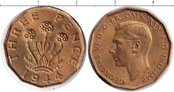 Картинка Монеты Великобритания 3 пенса Медь 1944