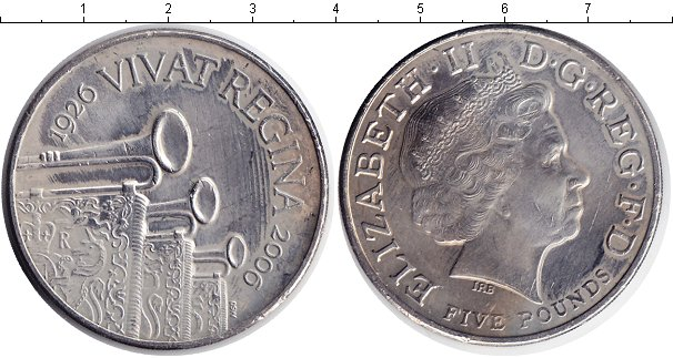 Картинка Монеты Великобритания 5 фунтов Медно-никель 2006