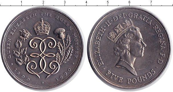 Картинка Монеты Великобритания 5 фунтов Медно-никель 1990