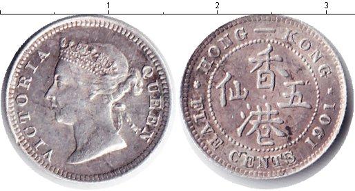 Картинка Монеты Гонконг 5 центов Серебро 1901