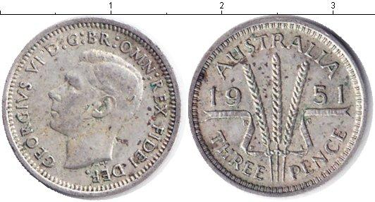 Картинка Монеты Австралия 3 пенса Серебро 1951