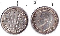 Изображение Монеты Австралия 3 пенса 1950 Серебро  Георг VI.