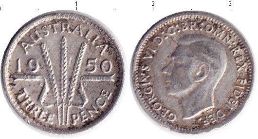 Картинка Монеты Австралия 3 пенса Серебро 1950