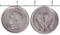 Изображение Монеты ЮАР 3 пенса 1947 Серебро  Георг VI.