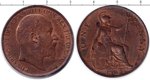 Картинка Монеты Великобритания 1 пенни Медь 1902