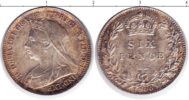 Картинка Монеты Великобритания 6 пенсов Серебро 1900