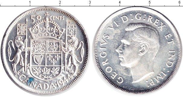 Картинка Монеты Канада 50 центов Серебро 1944