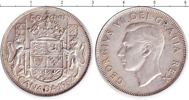 Картинка Монеты Канада 50 центов Серебро 1952