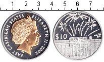 Изображение Монеты Карибы 10 долларов 2002 Серебро Proof- Елизавета II