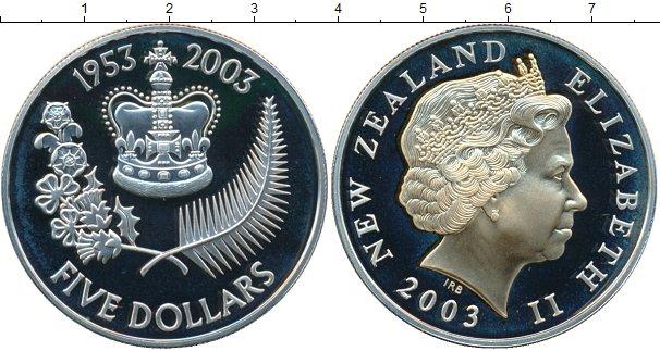 Картинка Монеты Новая Зеландия 5 долларов Серебро 2003