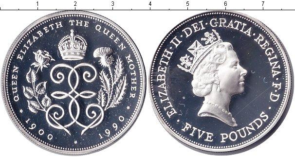 Картинка Монеты Великобритания 5 фунтов Серебро 1990