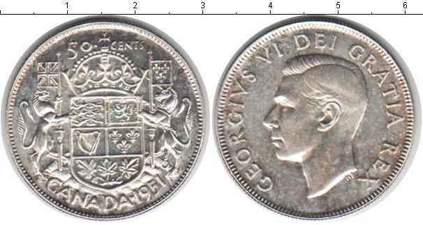 Картинка Монеты Канада 50 центов Серебро 1951