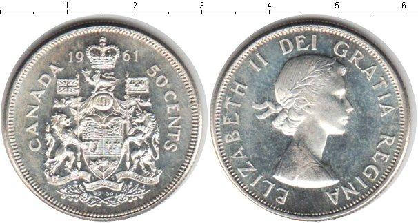 Картинка Монеты Канада 50 центов Серебро 1961