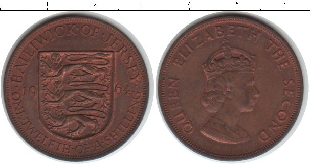 Картинка Монеты Остров Джерси 1/12 шиллинга Медь 1964