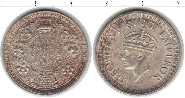 Картинка Монеты Индия 1/2 рупии Серебро 1942