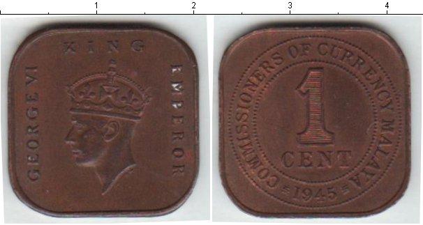 Картинка Монеты Малайя 1 цент Медь 1945